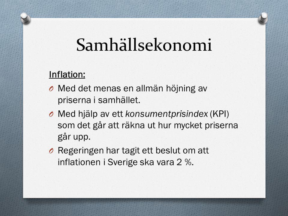Samhällsekonomi Inflation: O Med det menas en allmän höjning av priserna i samhället. O Med hjälp av ett konsumentprisindex (KPI) som det går att räkn