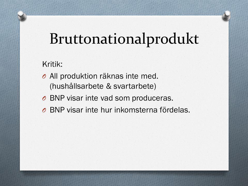Bruttonationalprodukt Kritik: O All produktion räknas inte med. (hushållsarbete & svartarbete) O BNP visar inte vad som produceras. O BNP visar inte h