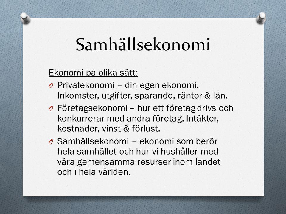 Samhällsekonomi Finanssektorn: O Finanssektorn består av olika finansinstitut t.ex.