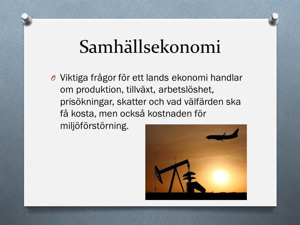 Samhällsekonomi O I dagens globaliserade värld påverkas Sverige av beslut som tas i andra länder.