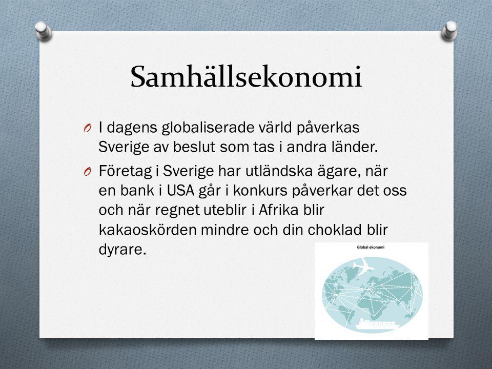 Samhällsekonomi O I dagens globaliserade värld påverkas Sverige av beslut som tas i andra länder. O Företag i Sverige har utländska ägare, när en bank