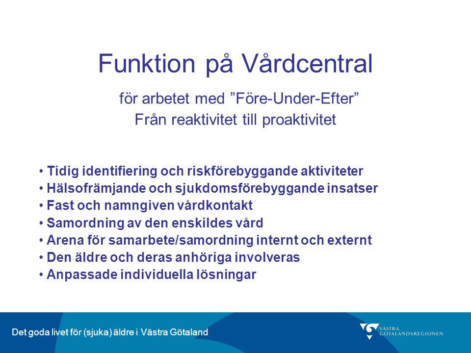 """Det goda livet för (sjuka) äldre i Västra Götaland Funktion på Vårdcentral för arbetet med """"Före-Under-Efter"""" Från reaktivitet till proaktivitet Tidig"""