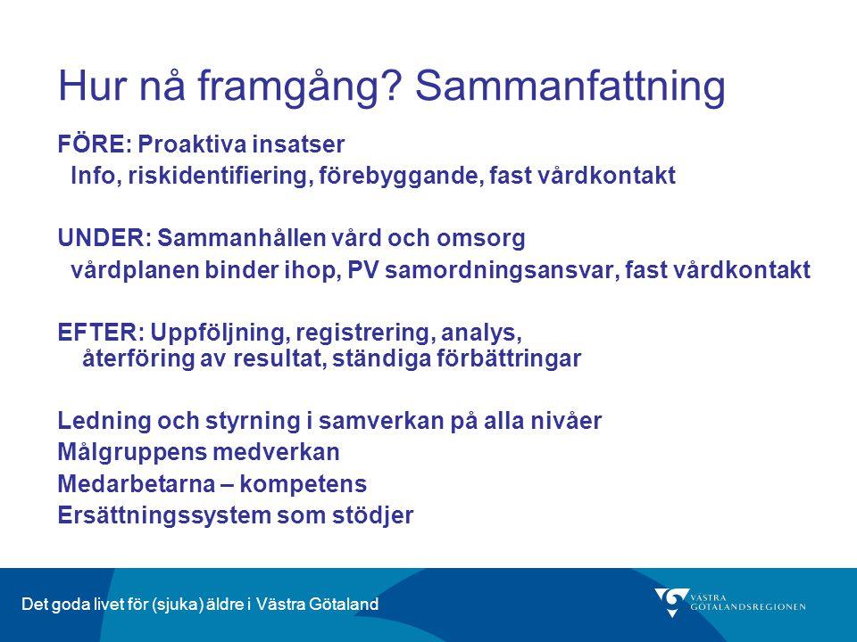Det goda livet för (sjuka) äldre i Västra Götaland Hur nå framgång? Sammanfattning FÖRE: Proaktiva insatser Info, riskidentifiering, förebyggande, fas