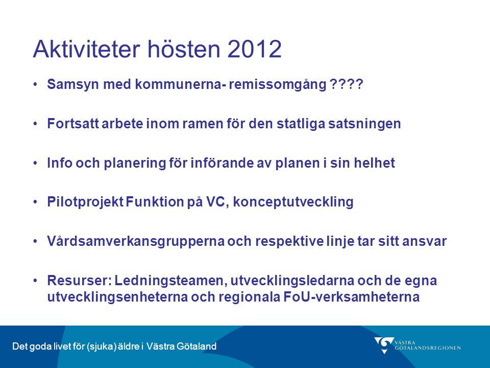 Aktiviteter hösten 2012 Samsyn med kommunerna- remissomgång ???? Fortsatt arbete inom ramen för den statliga satsningen Info och planering för införan