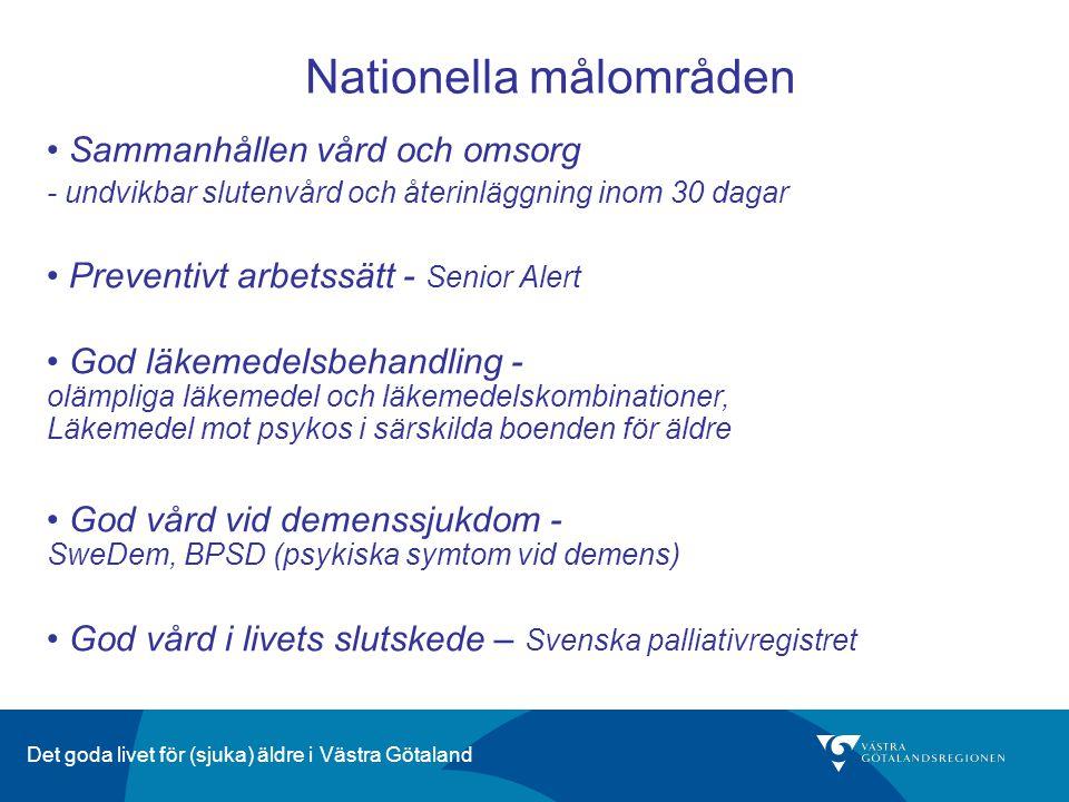 Det goda livet för (sjuka) äldre i Västra Götaland Nationella målområden Sammanhållen vård och omsorg - undvikbar slutenvård och återinläggning inom 3