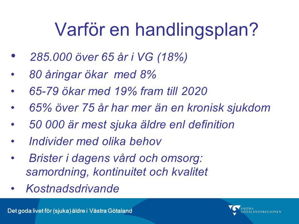 Varför en handlingsplan? 285.000 över 65 år i VG (18%) 80 åringar ökar med 8% 65-79 ökar med 19% fram till 2020 65% över 75 år har mer än en kronisk s
