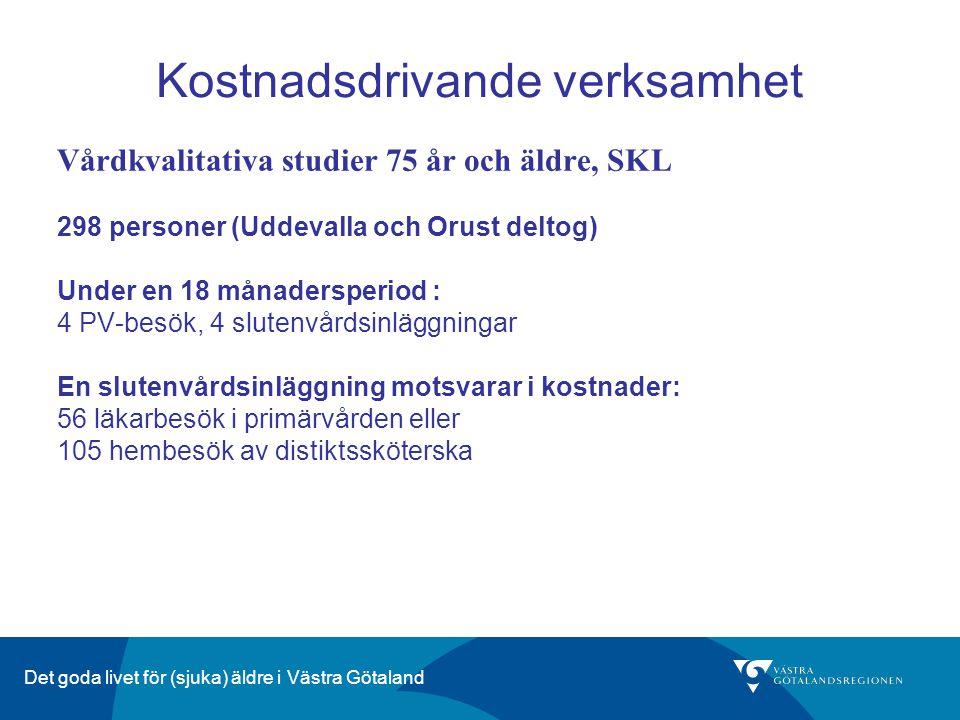 Det goda livet för (sjuka) äldre i Västra Götaland Kostnadsdrivande verksamhet Vårdkvalitativa studier 75 år och äldre, SKL 298 personer (Uddevalla oc
