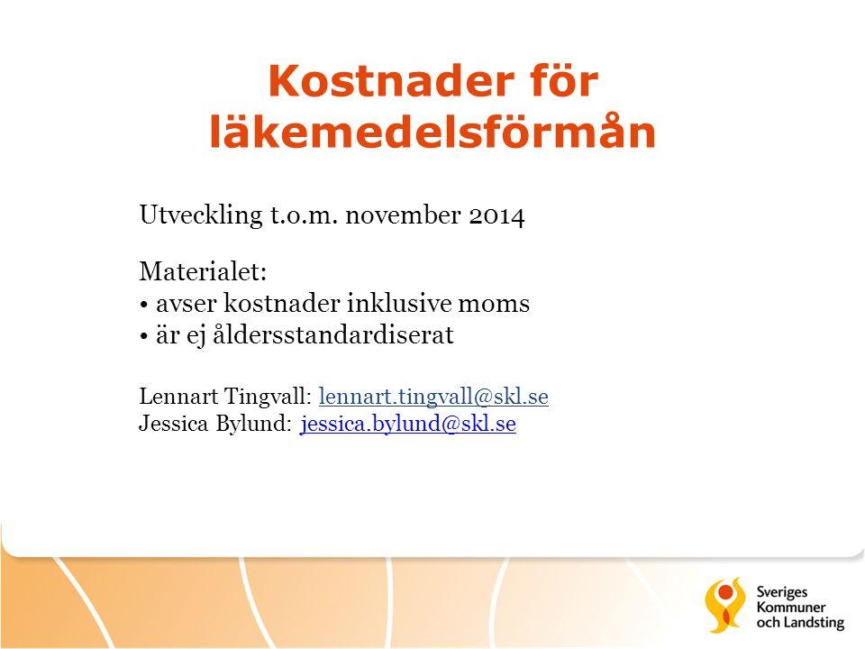 Kostnader för läkemedelsförmån Utveckling t.o.m. november 2014 Materialet: avser kostnader inklusive moms är ej åldersstandardiserat Lennart Tingvall: