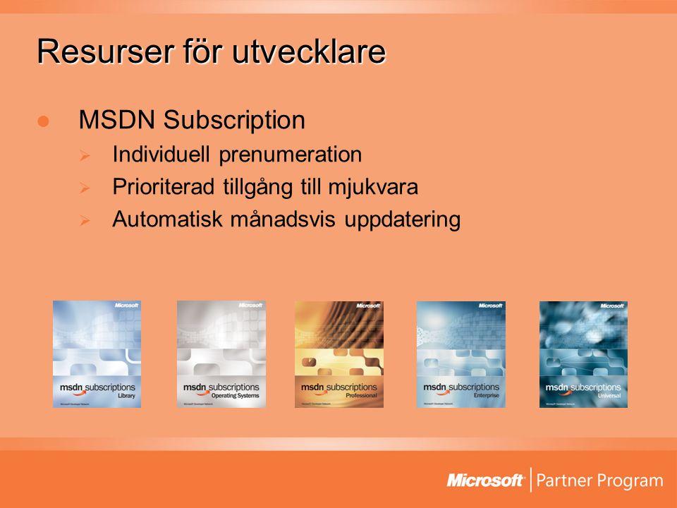 Resurser för utvecklare MSDN Subscription  Individuell prenumeration  Prioriterad tillgång till mjukvara  Automatisk månadsvis uppdatering