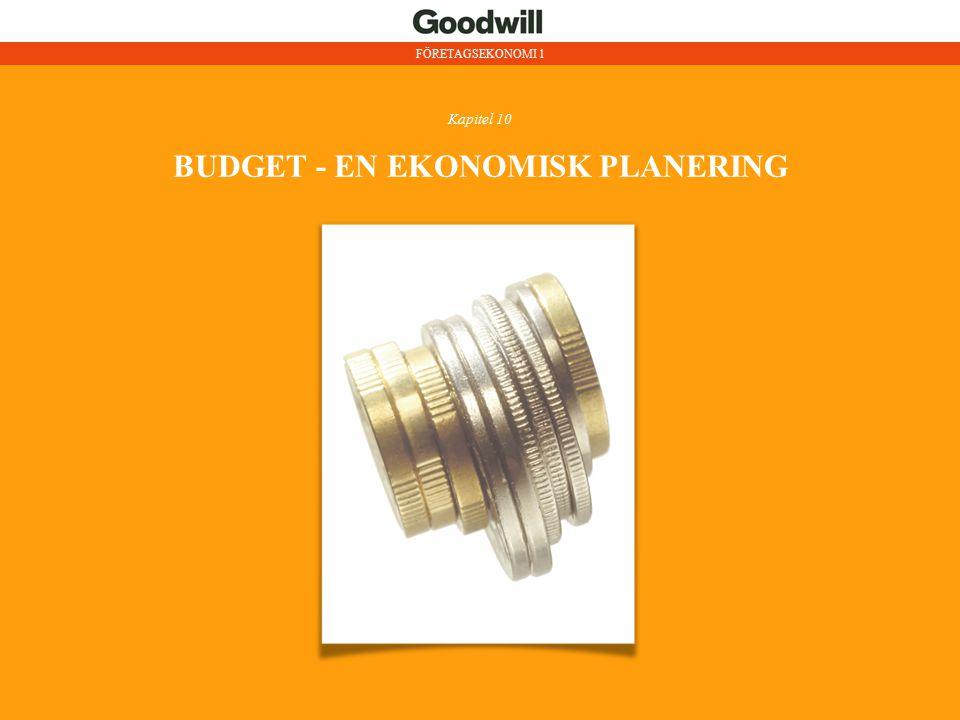 BUDGET - EN EKONOMISK PLANERING I SIFFROR FÖRETAGSEKONOMI 1Kapitel 10 Budget görs för en period exempelvis ett år.