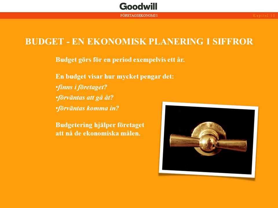 BUDGET - EN EKONOMISK PLANERING I SIFFROR FÖRETAGSEKONOMI 1Kapitel 10 Budget görs för en period exempelvis ett år. En budget visar hur mycket pengar d