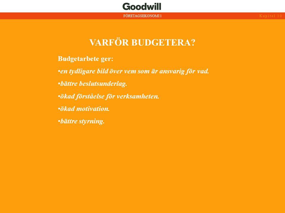 VARFÖR BUDGETERA? FÖRETAGSEKONOMI 1Kapitel 10 Budgetarbete ger: en tydligare bild över vem som är ansvarig för vad. bättre beslutsunderlag. ökad först