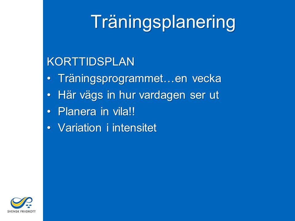 6 Träningsplanens innehåll Planeringens detaljnivåer - Långsiktig plan - Årsplan - Periodplan - Veckoplan - Träningspasset Träningsdagbok - Uppföljning av planeringen - Logga genomförd träning - Värdera träningen