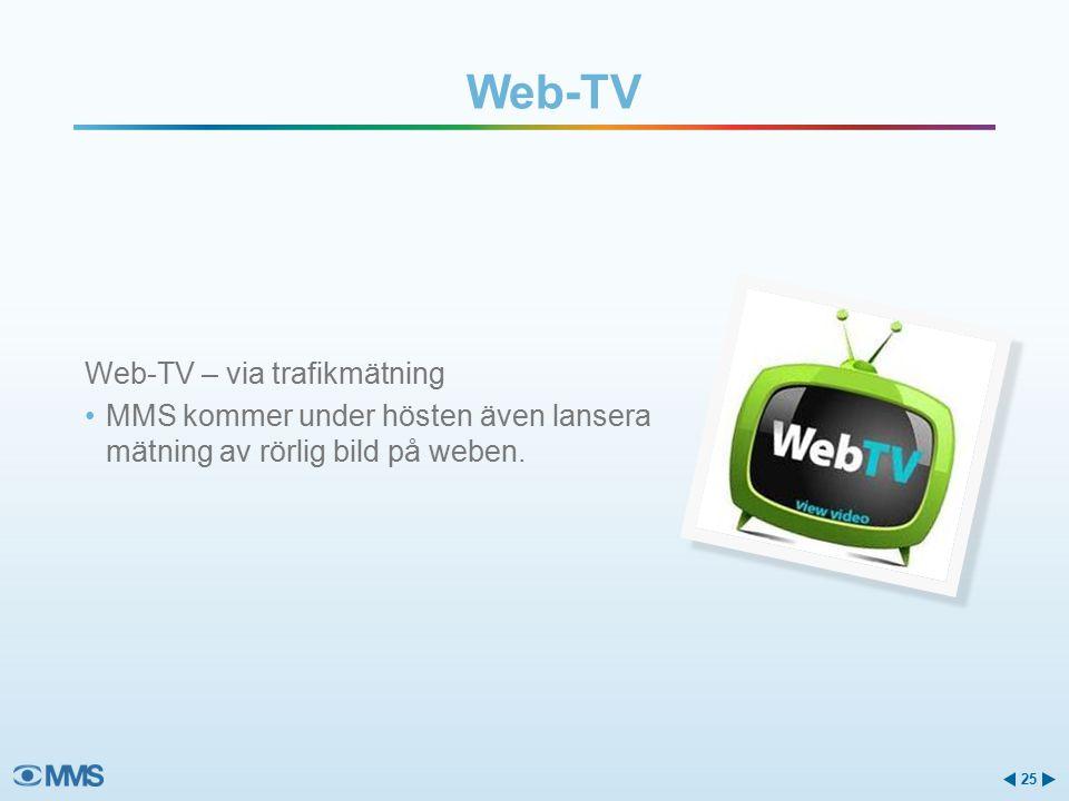 Web-TV Web-TV – via trafikmätning MMS kommer under hösten även lansera mätning av rörlig bild på weben.