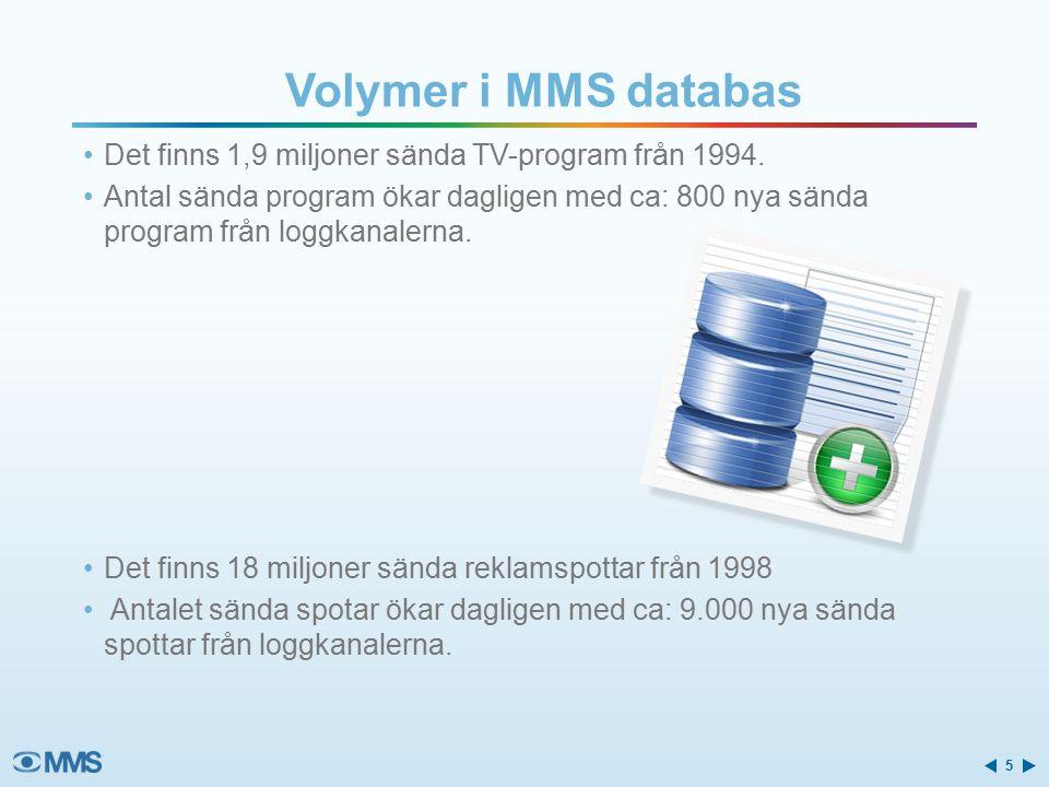 Volymer i MMS databas Det finns 1,9 miljoner sända TV-program från 1994.