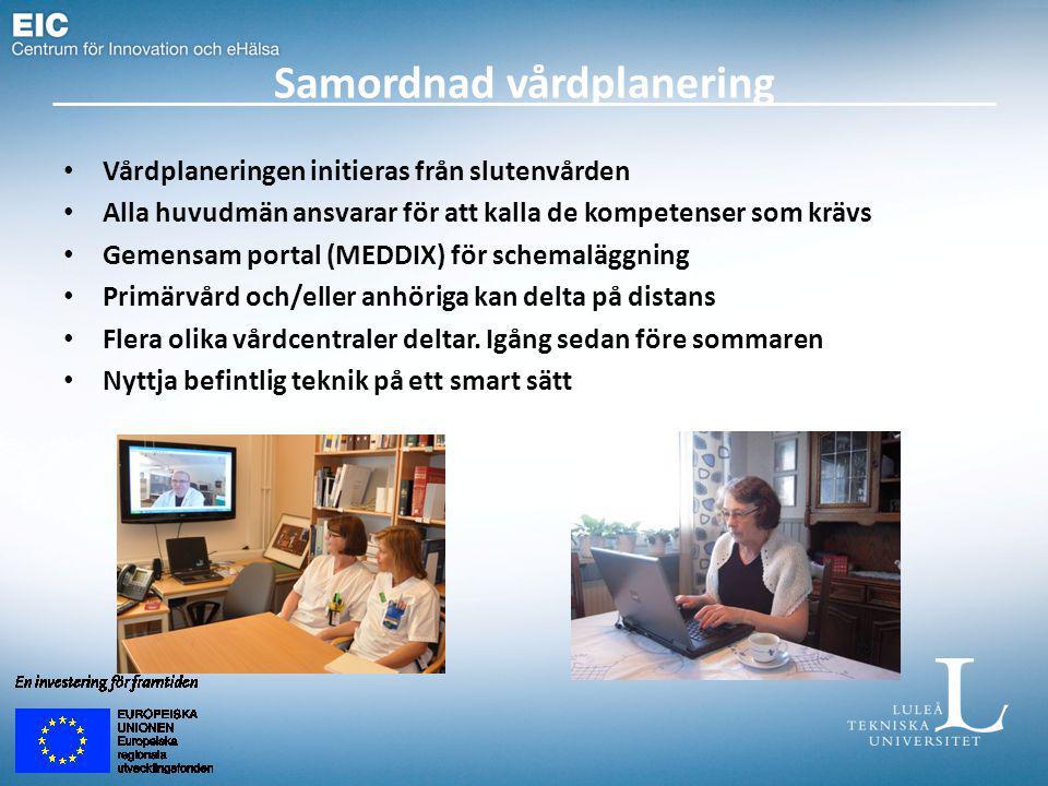 Samordnad vårdplanering Vårdplaneringen initieras från slutenvården Alla huvudmän ansvarar för att kalla de kompetenser som krävs Gemensam portal (MEDDIX) för schemaläggning Primärvård och/eller anhöriga kan delta på distans Flera olika vårdcentraler deltar.