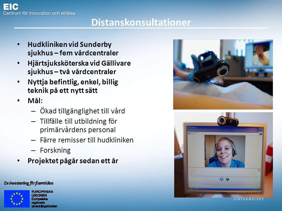 Distanskonsultationer Hudkliniken vid Sunderby sjukhus – fem vårdcentraler Hjärtsjuksköterska vid Gällivare sjukhus – två vårdcentraler Nyttja befintlig, enkel, billig teknik på ett nytt sätt Mål: – Ökad tillgänglighet till vård – Tillfälle till utbildning för primärvårdens personal – Färre remisser till hudkliniken – Forskning Projektet pågår sedan ett år