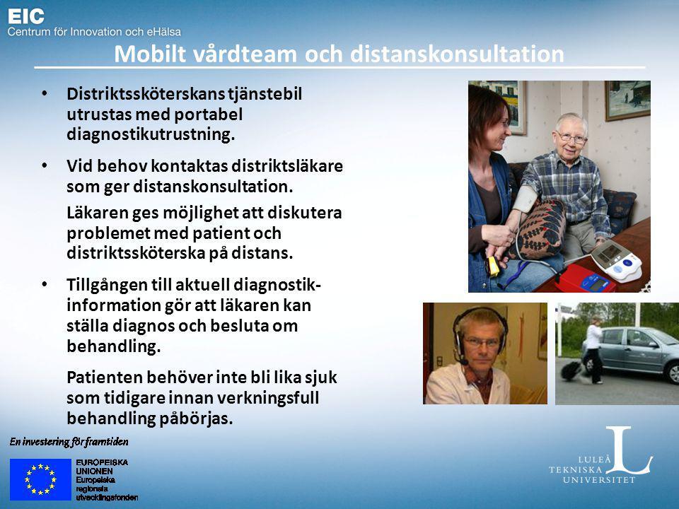 Mobilt vårdteam och distanskonsultation Distriktssköterskans tjänstebil utrustas med portabel diagnostikutrustning.
