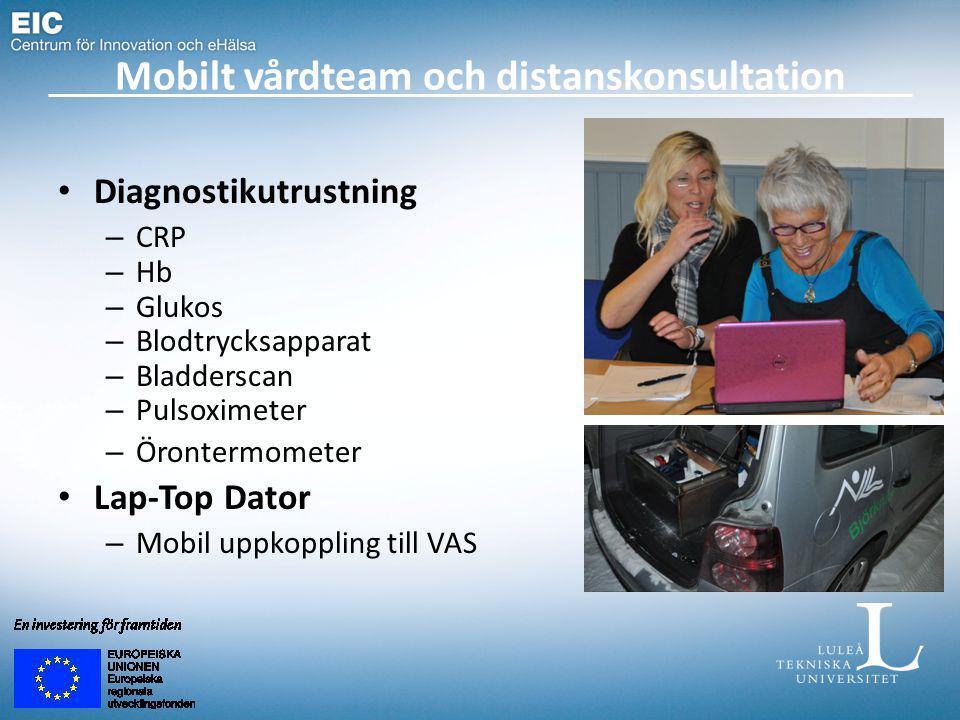 Mobilt vårdteam och distanskonsultation Diagnostikutrustning – CRP – Hb – Glukos – Blodtrycksapparat – Bladderscan – Pulsoximeter – Örontermometer Lap-Top Dator – Mobil uppkoppling till VAS