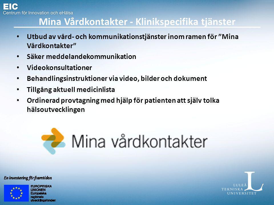 """Mina Vårdkontakter - Klinikspecifika tjänster Utbud av vård- och kommunikationstjänster inom ramen för """"Mina Vårdkontakter"""" Säker meddelandekommunikat"""