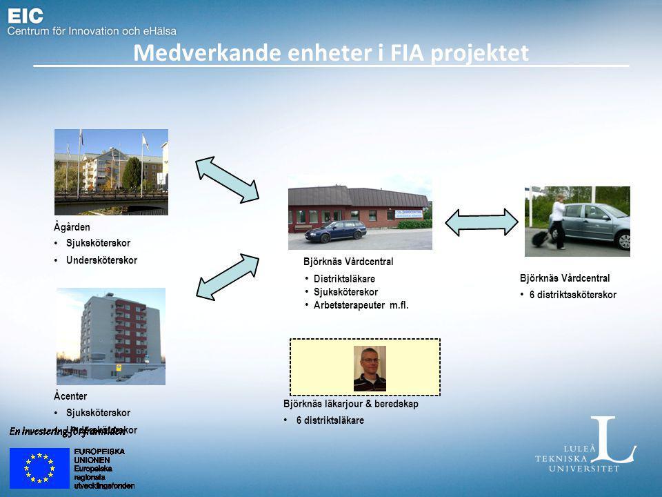 Medverkande enheter i FIA projektet Björknäs Vårdcentral Distriktsläkare Sjuksköterskor Arbetsterapeuter m.fl. Ågården Sjuksköterskor Undersköterskor