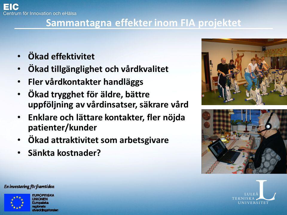 Sammantagna effekter inom FIA projektet Ökad effektivitet Ökad tillgänglighet och vårdkvalitet Fler vårdkontakter handläggs Ökad trygghet för äldre, b