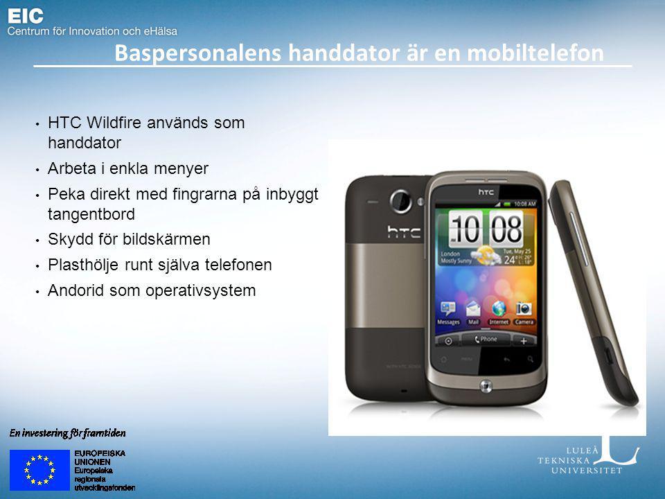 HTC Wildfire används som handdator Arbeta i enkla menyer Peka direkt med fingrarna på inbyggt tangentbord Skydd för bildskärmen Plasthölje runt själva telefonen Andorid som operativsystem Baspersonalens handdator är en mobiltelefon