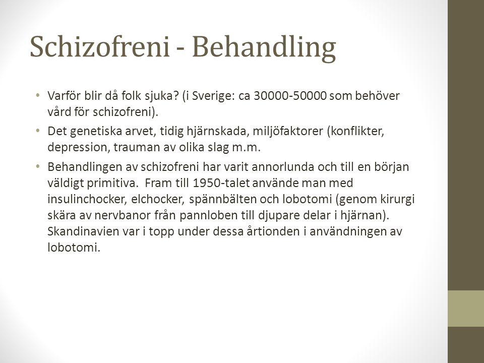 Schizofreni - Behandling Varför blir då folk sjuka? (i Sverige: ca 30000-50000 som behöver vård för schizofreni). Det genetiska arvet, tidig hjärnskad