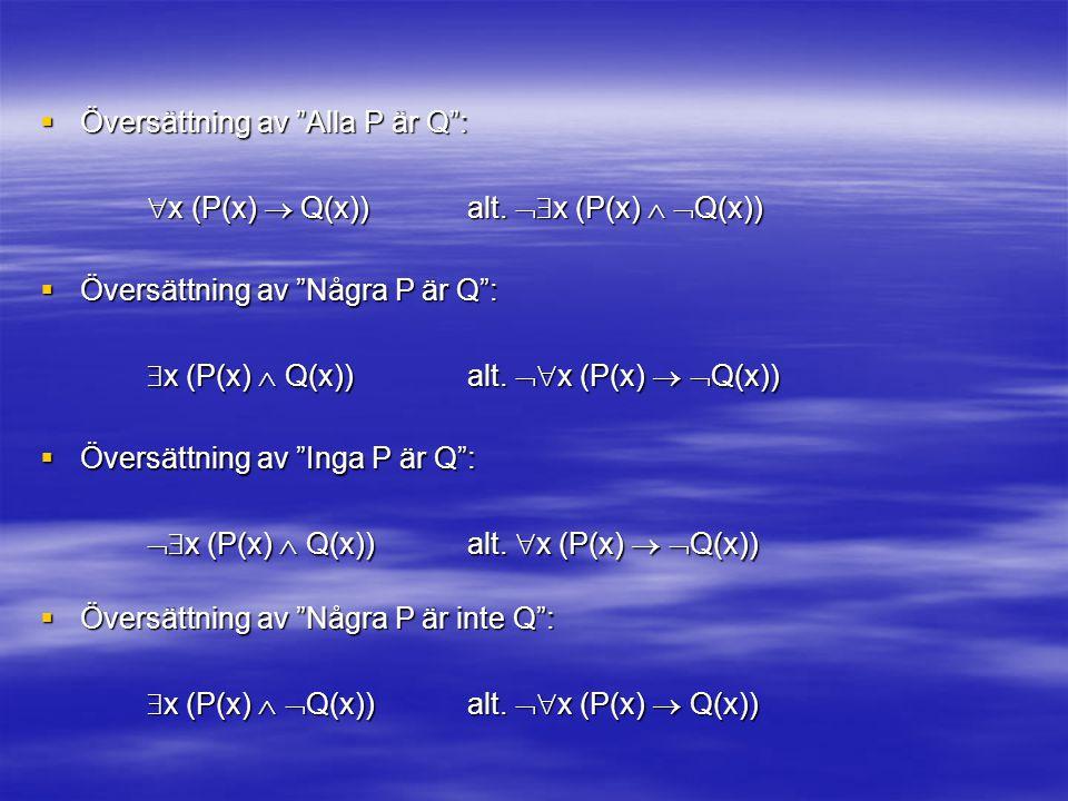  Översättning av Alla P är Q :  x (P(x)  Q(x)) alt.