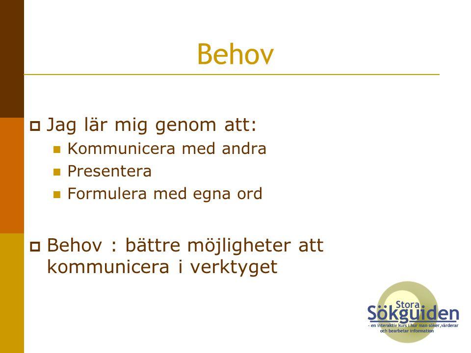  Jag lär mig genom att: Kommunicera med andra Presentera Formulera med egna ord  Behov : bättre möjligheter att kommunicera i verktyget Behov