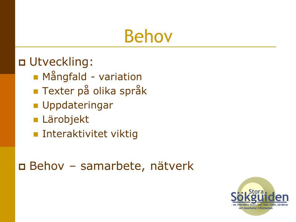  Utveckling: Mångfald - variation Texter på olika språk Uppdateringar Lärobjekt Interaktivitet viktig  Behov – samarbete, nätverk