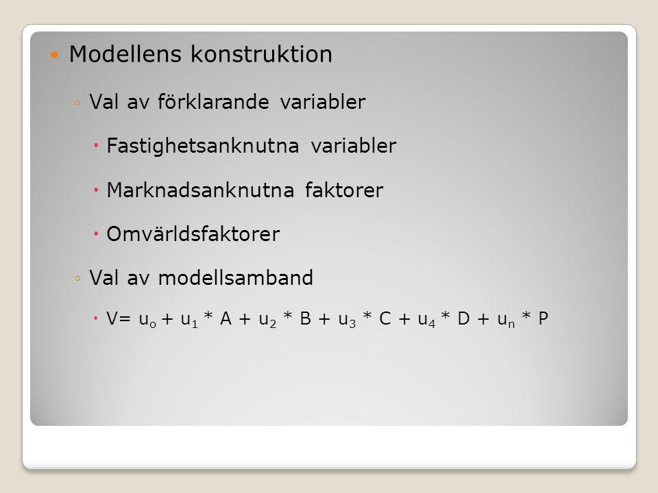 Modellens konstruktion ◦Val av förklarande variabler  Fastighetsanknutna variabler  Marknadsanknutna faktorer  Omvärldsfaktorer ◦Val av modellsamband  V= u o + u 1 * A + u 2 * B + u 3 * C + u 4 * D + u n * P