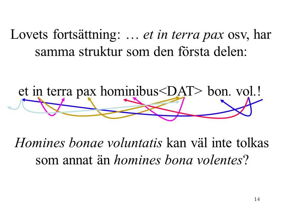 14 Lovets fortsättning: … et in terra pax osv, har samma struktur som den första delen: et in terra pax hominibus bon.