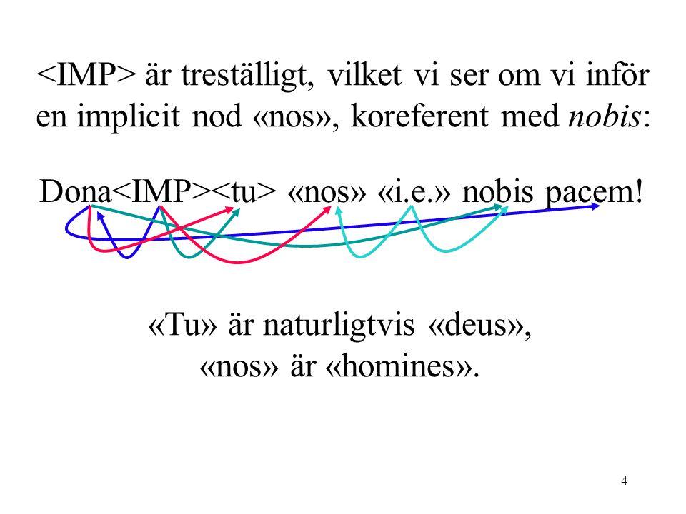 4 är treställigt, vilket vi ser om vi inför en implicit nod «nos», koreferent med nobis: Dona «nos» «i.e.» nobis pacem.