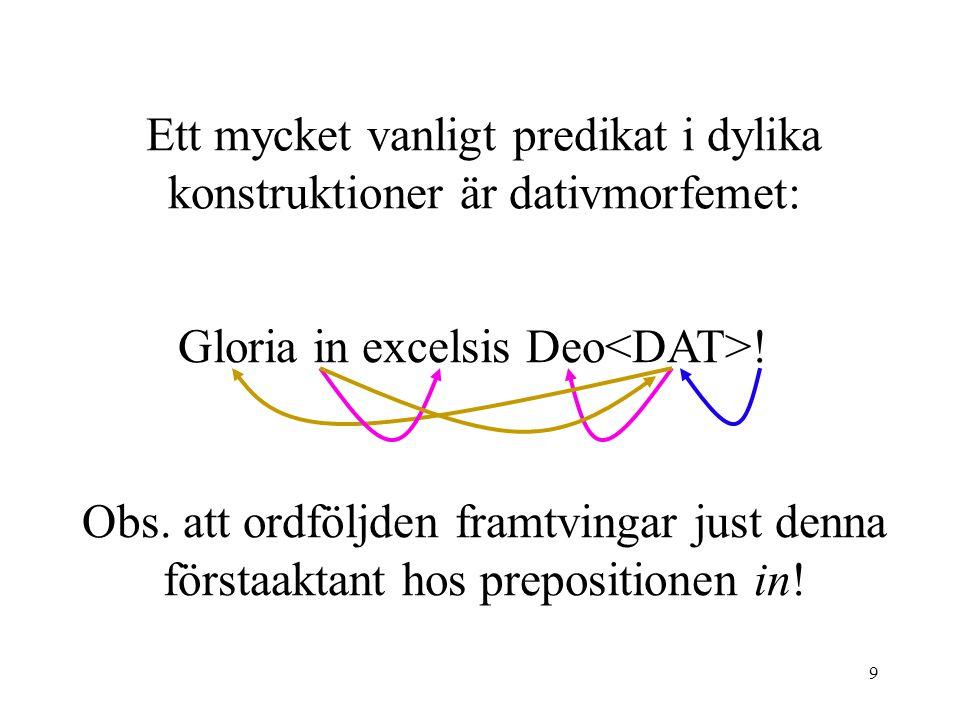 9 Ett mycket vanligt predikat i dylika konstruktioner är dativmorfemet: Gloria in excelsis Deo .