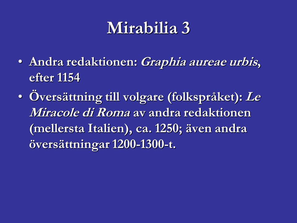 Mirabilia 3 Andra redaktionen: Graphia aureae urbis, efter 1154Andra redaktionen: Graphia aureae urbis, efter 1154 Översättning till volgare (folkspråket): Le Miracole di Roma av andra redaktionen (mellersta Italien), ca.