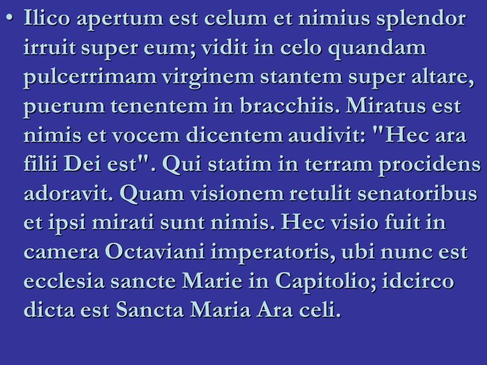 Ilico apertum est celum et nimius splendor irruit super eum; vidit in celo quandam pulcerrimam virginem stantem super altare, puerum tenentem in bracchiis.