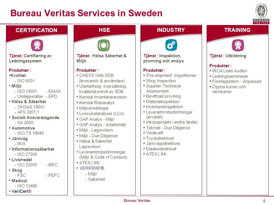 4 Bureau Veritas Bureau Veritas Services in Sweden Tjänst: Certifiering av Ledningssystem Produkter : Kvalitet - ISO 9001 Miljö - ISO 14001 - EMAS - Utsläppsrätter - EPD Hälsa & Säkerhet - OHSAS 18001 - AFS 2001:1 Socialt Ansvarstagande - SA 8000 Automotive - ISO/TS 16949 Järnväg - IRIS Informationssäkerhet - ISO 27000 Livsmedel - ISO 22000 - BRC Skog - FSC - PEFC Medical - ISO 13485 VeriCert® CERTIFICATION Tjänst : Hälsa Säkerhet & Miljö Produkter : CHESS Web SDB (leverantör & användare) Utarbetning, översättning, kvalitetskontroll av SDB Kemisk Inventarierevision Kemisk Riskanalys Miljöutredningar Livscykelanalyser (LCA) GAP Analys - Miljö GAP Analys - Arbetsmiljö Miljö - Lagrevision Miljö - Due Diligence Hälsa & Säkerhet Lagrevision Leverantörsbedömningar (Miljö & Code of Conduct) ATEX (:99) VERIPERF® - Miljö - Säkerhet HSE Tjänst : Inspektion, provning och analys Produkter : 'Pre-shipment' inspektioner Shop Inspection Supplier Technical Assessment Bevittnad provning Materialinspektion Inventarieinspektion Leverantörsbedömningar (produkt) Inköpsprojekt i andra länder Teknisk - Due Diligence Vindkraft Tryckdirektivet Järnvägsdirektivet Maskindirektivet ATEX (:94) INDUSTRY Tjänst : Utbildning Produkter : IRCA Lead Auditor Ledningsseminarier Företagsintern - Anpassad Öppna kurser och seminarier TRAINING
