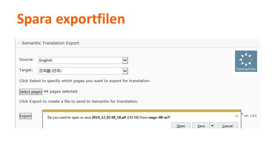 Spara exportfilen