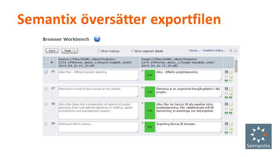 Semantix översätter exportfilen
