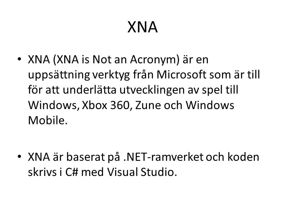 XNA XNA (XNA is Not an Acronym) är en uppsättning verktyg från Microsoft som är till för att underlätta utvecklingen av spel till Windows, Xbox 360, Zune och Windows Mobile.