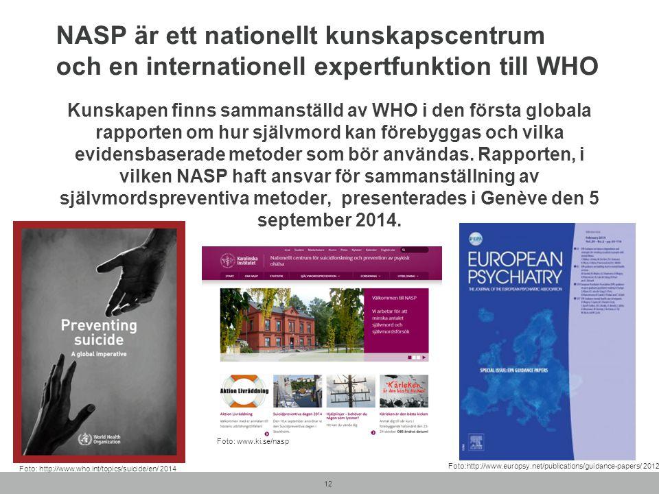 NASP är ett nationellt kunskapscentrum och en internationell expertfunktion till WHO Kunskapen finns sammanställd av WHO i den första globala rapporte
