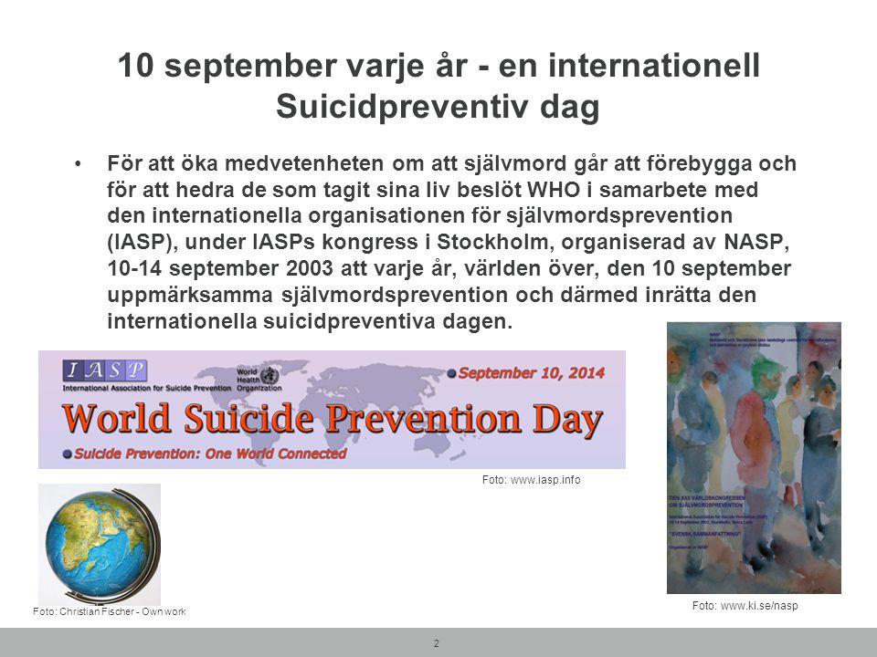2 10 september varje år - en internationell Suicidpreventiv dag För att öka medvetenheten om att självmord går att förebygga och för att hedra de som