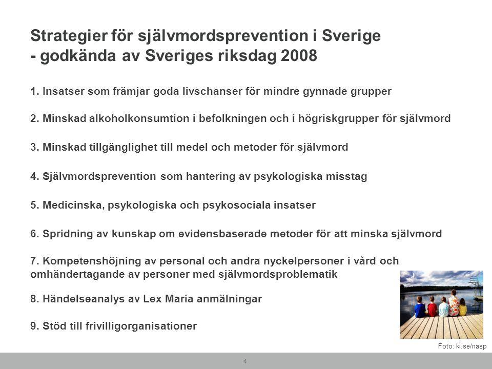 Strategier för självmordsprevention i Sverige - godkända av Sveriges riksdag 2008 1. Insatser som främjar goda livschanser för mindre gynnade grupper