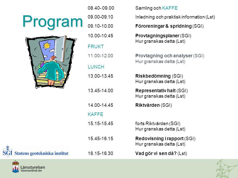 Program 08.40- 09.00 Samling och KAFFE 09.00-09.10Inledning och praktisk information (Lst) 09.10-10.00Föroreningar & spridning (SGI) 10.00-10.45Provtagningsplaner (SGI) Hur granskas detta (Lst) FRUKT 11.00-12.00Provtagning och analyser (SGI) Hur granskas detta (Lst) LUNCH 13.00-13.45Riskbedömning (SGI) Hur granskas detta (Lst) 13.45-14.00Representativ halt (SGI) Hur granskas detta (Lst) 14.00-14.45Riktvärden (SGI) KAFFE 15.15-15.45forts Riktvärden (SGI) Hur granskas detta (Lst) 15.45-16.15Redovisning i rapport (SGI) Hur granskas detta (Lst) 16.15-16.30Vad gör vi sen då.