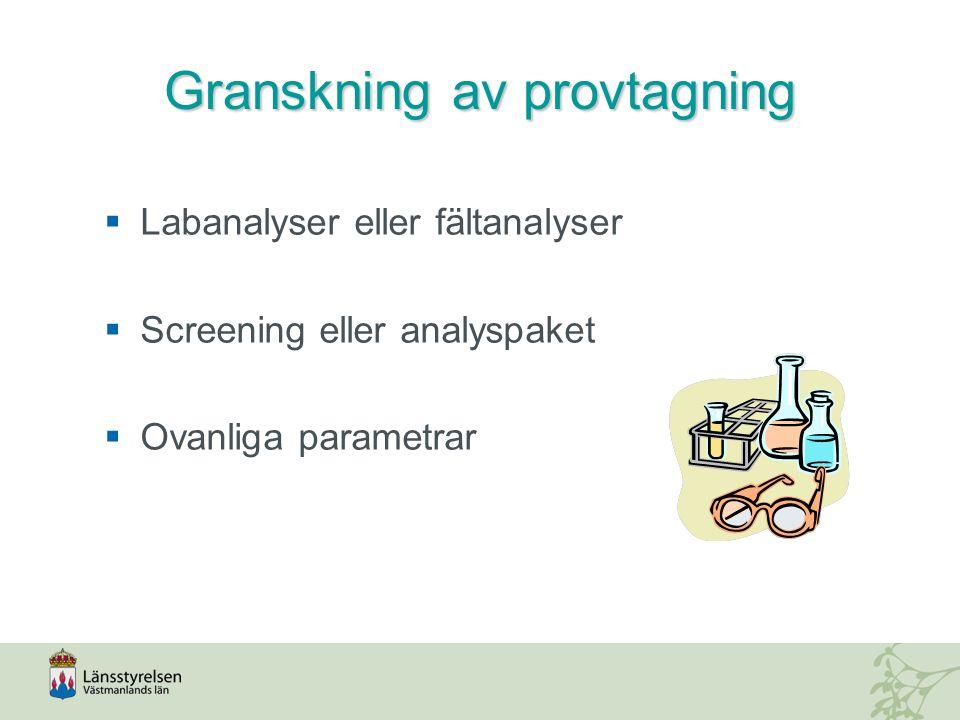 Granskning av provtagning  Labanalyser eller fältanalyser  Screening eller analyspaket  Ovanliga parametrar