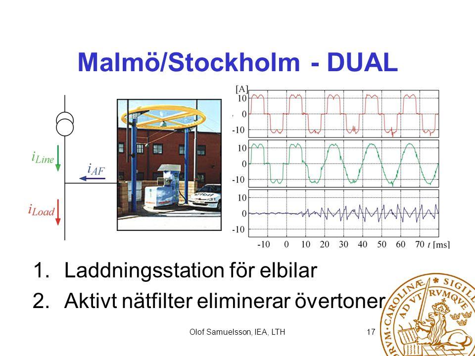Olof Samuelsson, IEA, LTH17 Malmö/Stockholm - DUAL 1. Laddningsstation för elbilar 2. Aktivt nätfilter eliminerar övertoner