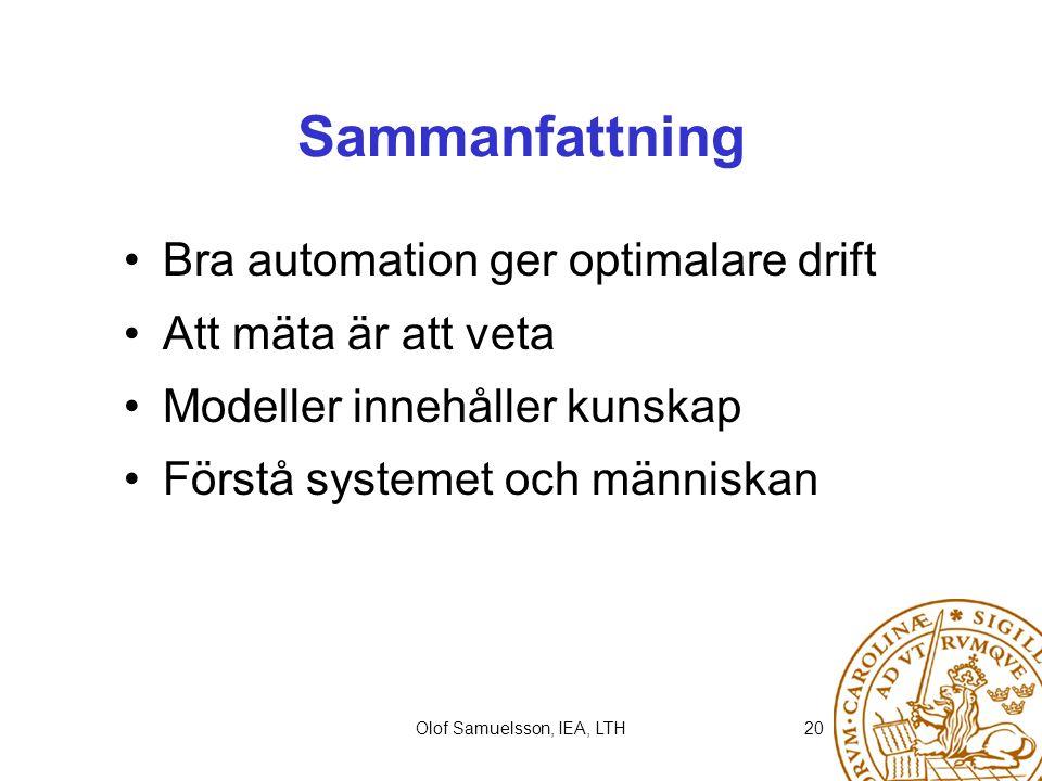 Olof Samuelsson, IEA, LTH20 Sammanfattning Bra automation ger optimalare drift Att mäta är att veta Modeller innehåller kunskap Förstå systemet och mä