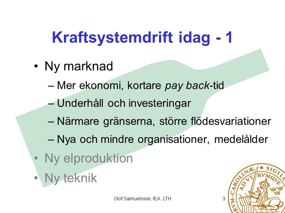Olof Samuelsson, IEA, LTH4 Kraftsystemdrift idag - 2 Ny marknad Ny elproduktion –Småskaligt ersätter storskaligt –Produktion i distributionssystemet –Vindkraft Ny teknik