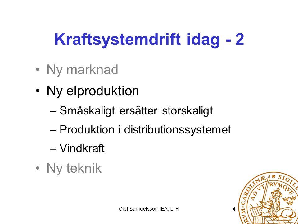 Olof Samuelsson, IEA, LTH4 Kraftsystemdrift idag - 2 Ny marknad Ny elproduktion –Småskaligt ersätter storskaligt –Produktion i distributionssystemet –